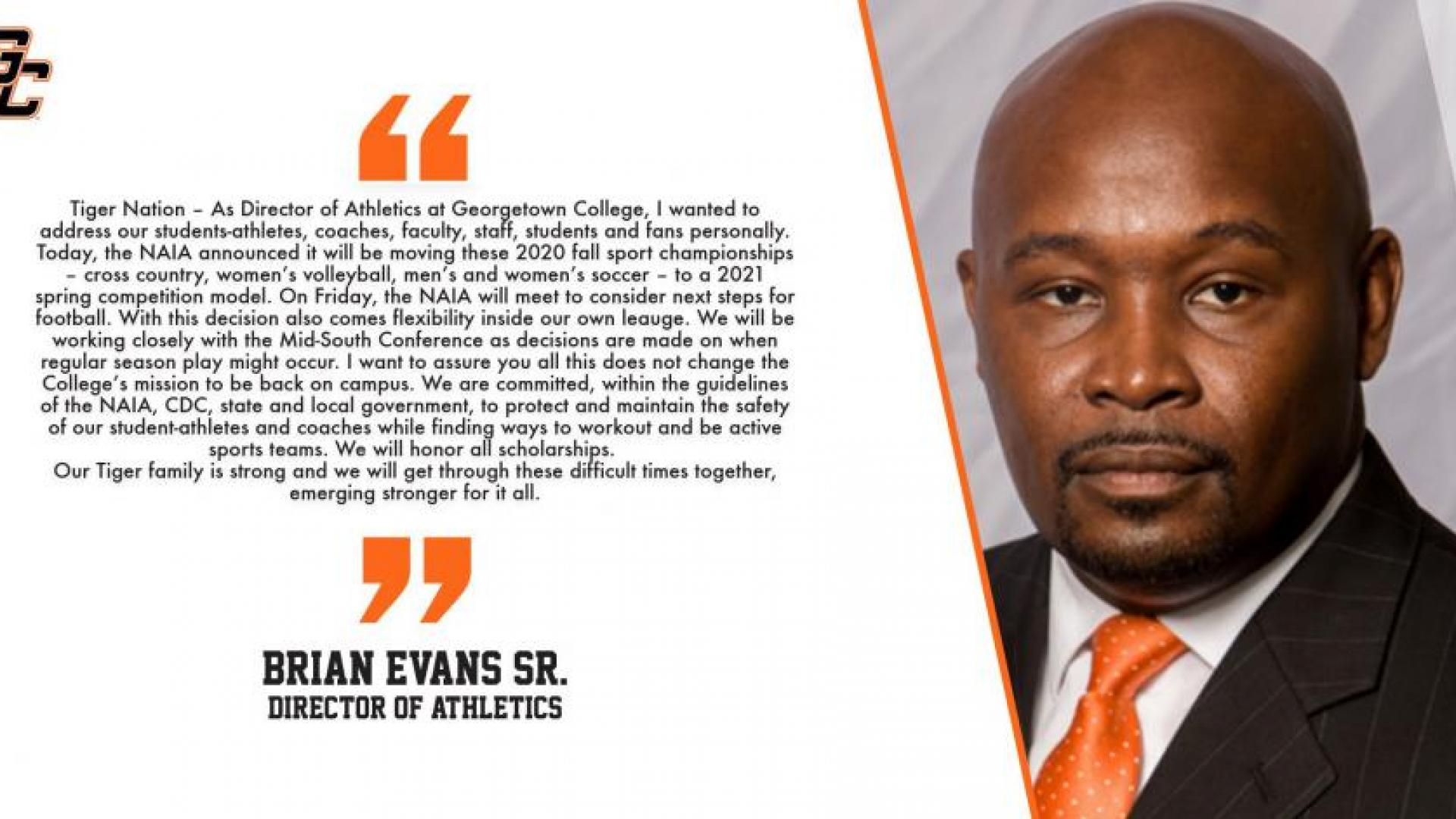 Message from Brian Evans